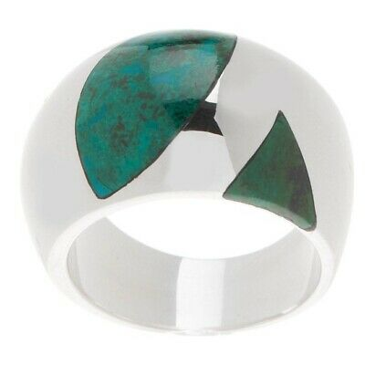$ CDN29.01 • Buy QVC Novica Sterling Inlay Chrysocolla Domed Band Ring Size 6 $159 SOLD OUT