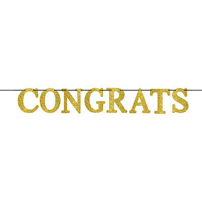 $7.22 • Buy Congrats Large Gold Glitter Letter 2.7m Party Banner