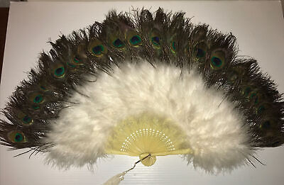 £71.21 • Buy Antique  Large PEACOCK Feather CELLULOID Women's Hand Fan  15