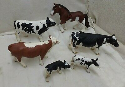 £13.48 • Buy Schleich Farm Animals 5 Cows And Horse Toy Stallion Mustang And Bovine
