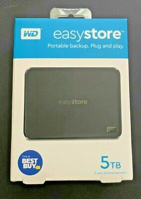 AU127.06 • Buy WD Easystore 5TB External USB 3.0 Portable Hard Drive Black NEW