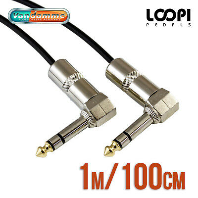 AU16 • Buy 1m 1/4  Stereo Right Angle 6.35mm Effect Patch TRS Lead - Van Damme Cable