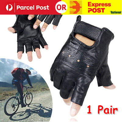 AU12.31 • Buy Tactical PU Leather Half Finger Gloves Army Military Driving Fitness Fingerless