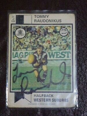AU60 • Buy Rare Signed Tom Raudonikus Raudonikis 1974 Scanlens Rugby League Card Magpies 22