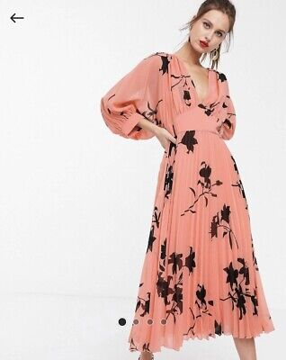 AU35 • Buy Asos Pleated Batwing Midi Dress Pink Floral Size 10