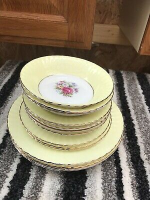Imperial  Fine Bone China Gold Tea Set No Cups 14 Plates Saucers Floral Yellow • 9.50£