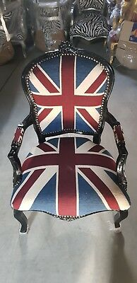 £160 • Buy Chairs France Baroque Style Lady Chair With Armrests Black / Union Jack #55f3