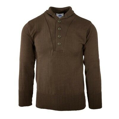$29.99 • Buy GI Men's 5 Button Sweater, 100% Knitted Wool, US Military, Brown, Made In USA