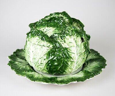 £209.40 • Buy Vintage Italy Majolica Cabbage Leaf Lettuce Large Tureen & Lid W/ Underplate 15