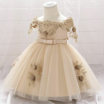 £25.10 • Buy Sleeveless Lace Bow Knot Pearl Appliques Infant Girls Baptism Party Ball Dresses