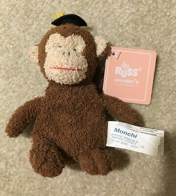 $ CDN12.97 • Buy Russ Brown Monkey Monchi 6  Plush Beanie Toy Graduation Hat Gift Washable New