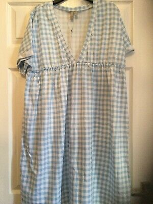 AU10.64 • Buy Asos Size 16 Smock Dress Blue And White Check Knee Length
