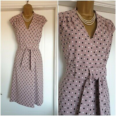 £25 • Buy Vintage 40s 50s Style Polka Dot Cocktail Wedding Occasion Dress Size 12S