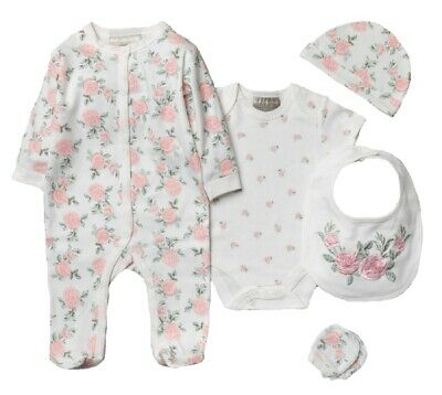 £14.45 • Buy Baby Girls Layette Clothing & Gift Bag Set Pink Floral Rose Traditional Outfit