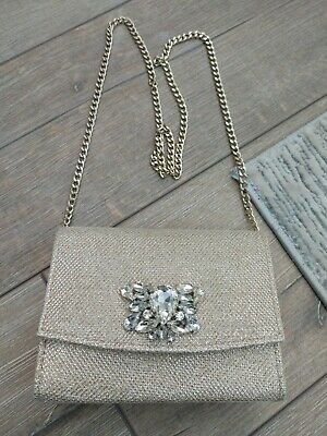 £20 • Buy Dune Party Shoulder Clutch Bag Gold Glitter With Diamond Stones And Chain.