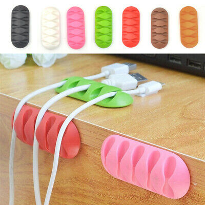 Plastic Desk Organizer Cable Drop Clip Wire Cord USB Charger Cable Holder C2UK • 2.29£