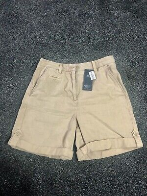 Marks And Spencer Womens Beige Safari Shorts Size 6 • 8£
