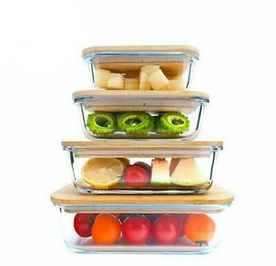 £19.99 • Buy Glass Food Container With Bamboo Lids Set Of 4 Storage Airtight Eco Friendly