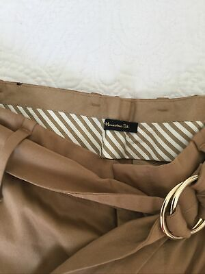 Massimo Dutti Camel/Tan Brown Paper Bag-Waisted Trousers Size 10 Excellent Cond. • 18£