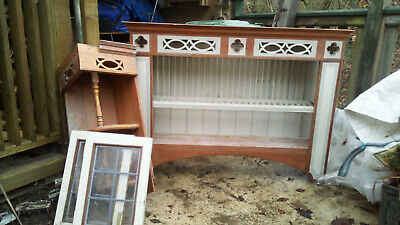 £15 • Buy Wooden And Painted Fretwork Kitchen Plate Rack, Corner Cupboard And Doors