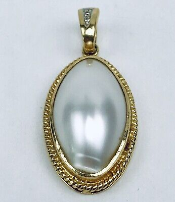 $325 • Buy Vintage Large 14k Solid Yellow Gold Mabe Pearl And Diamond Accent Pendant