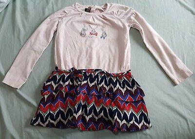 £14.99 • Buy Jean Bourget Dress And Red Leggings Rabbit Print Cotton Little Girls Kids 4 Year