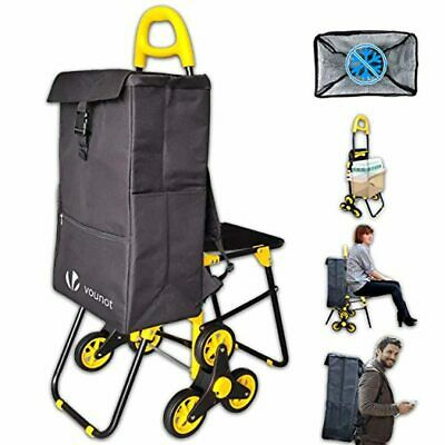 £50.03 • Buy VOUNOT Foldable Shopping Trolley With Seat, 3 Wheels Stair Climbing Grocery Cart