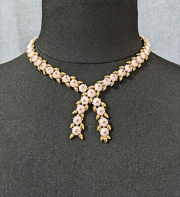 £145 • Buy Beautiful Light Pink Colour Forget-Me-Not Flowers Necklace By Trifari Jewellery