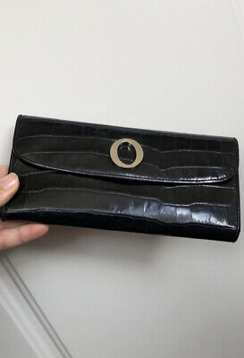 AU55 • Buy ✨ OROTON O $215 ✨ Black Crocodile Patent Leather Slim Clutch Croc Purse Wallet