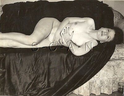 AU19.22 • Buy Original Vintage 1940s-60s Nude RP- Brunette Lies On Sofa- Holds Stomach- Watch