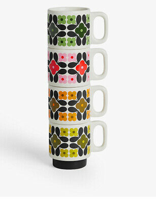 £53 • Buy Orla Kiely Stackable Espresso Cups, 100ml, Set Of 4, Assorted Colours