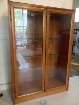 £95 • Buy Mid Century Retro Solid Teak Glass Fronted Bookcase / Display Cabinet C050021