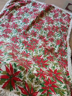 $ CDN16.98 • Buy Vintage Christmas Poinsettia Cotton Tablecloth Fringed Edges 52  X 60