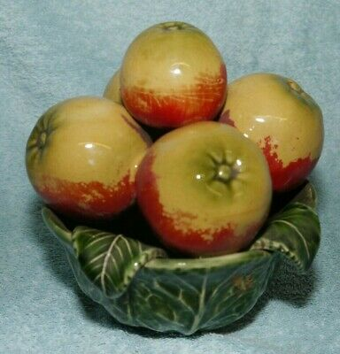 £24 • Buy Vintage Majolica Cabbage Leaf Fruit Bowl With Apples Portugal