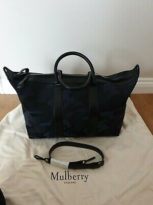 £350 • Buy Mulberry Midnight Black & Blue Camouflage Small Weekender Tote Holdall BNWT NEW