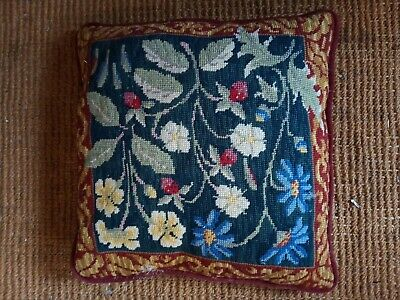 Vintage EHRMAN Maytime Needlepoint Cushion Red Floral 14  Square Wounded • 14.99£