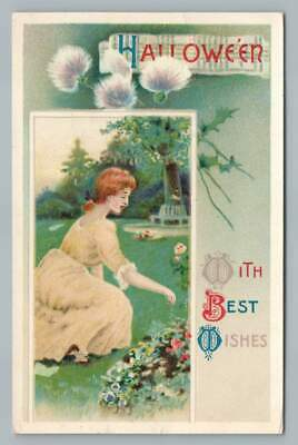 $ CDN18.13 • Buy Girl Gathering Thistles HALLOWEEN  Best Wishes  Antique 2471 Postcard 1910s