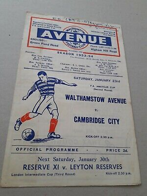 £6.50 • Buy Walthamstow Avenue V Cambridge City 23.1.54 FA Amateur Cup 2nd Round