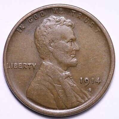 $ CDN13.95 • Buy FINE+ 1914-S Lincoln Wheat Cent Penny FREE SHIPPING