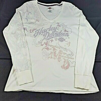 $ CDN36.22 • Buy Harley Davidson Motorcycles Womens Shirt Top Long Sleeve White Graphic L XL