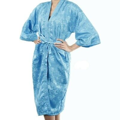 AU27.99 • Buy Womens Bathrobe Dressing Gown Textured Light Blue Robe Rose Floral Night Pajamas