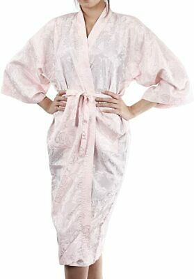 AU27.99 • Buy Womens Bathrobe Dressing Gown Textured Light Pink Rose Robe Floral Night Pajamas