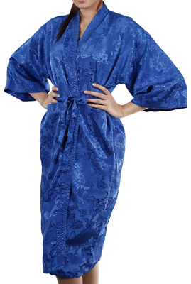 AU27.99 • Buy Womens Bathrobe Dressing Gown Textured Blue Rose Robe Floral Night Pajamas Sleep