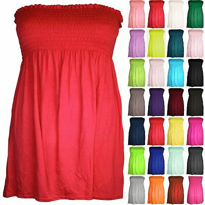 £3.49 • Buy Plus Size Womens Ruched Jersey Ladies Sheering Flared Swing Bandeau Boobtube Top