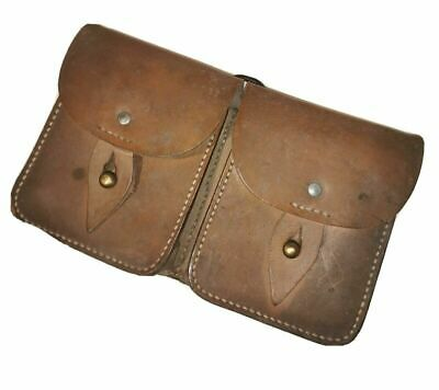 £29.99 • Buy Vintage French Military Issue Double Brown Leather Ammo Utility Pouch      [GSP]