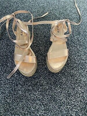 £5.20 • Buy Summer Wedge Ankle Strap Tie Up Sandals Rose Gold Size 7
