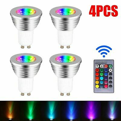 £11.69 • Buy 4X GU10 4W 16 Color Changing RGB Dimmable LED Light Bulbs Lamp RC Remote Spot UK