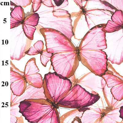 £5.95 • Buy Pink Butterfly Crepe Chiffon Dress Fabric Material 150cm Wide Sheer Lightweight