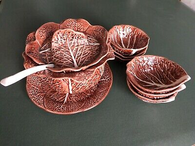 £40 • Buy Cabbage Leaf Portuguese Serving Bowl On A Plate With Ladel And Six Bowls