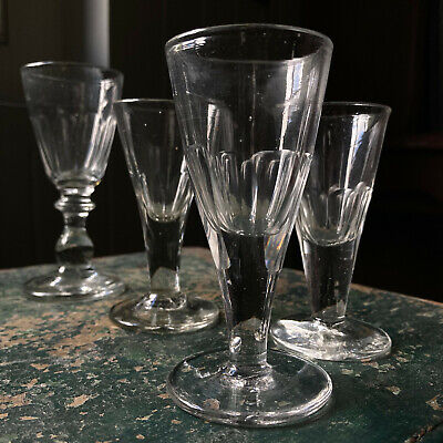 £18 • Buy 4 Antique Georgian Victorian Drinking Glass Gin Liquer Wine Pontiled Base
